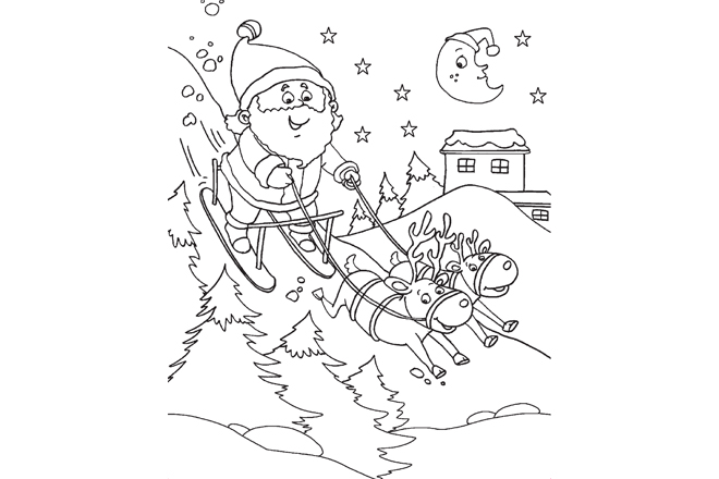 Santa is coming printable colouring pages from champak for Santa claus is coming to town coloring pages